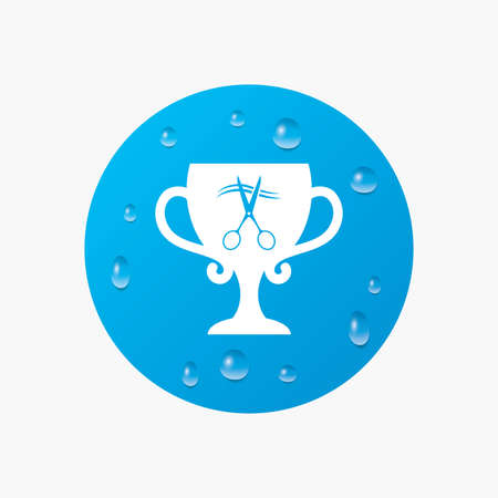 cut hair: Water drops on button. Scissors cut hair sign icon. Hairdresser or barbershop symbol. Winner award cup. Realistic pure raindrops. Blue circle. Vector Illustration