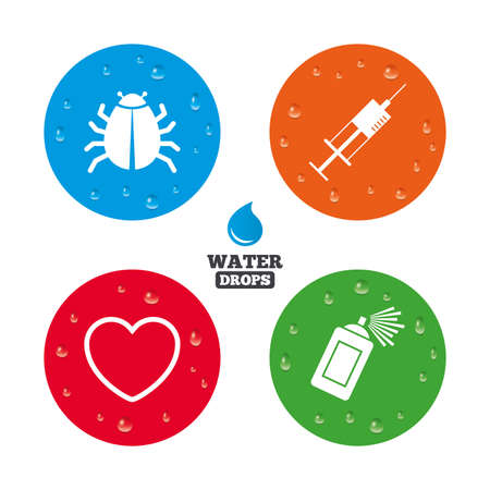 syringe injection: Water drops on button. Bug and vaccine syringe injection icons. Heart and spray can sign symbols. Realistic pure raindrops on circles. Vector Illustration