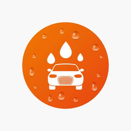 autolavaggio: Gocce d'acqua su tasto. Icona di autolavaggio. Automated teller simbolo autolavaggio. Gocce d'acqua segni. Gocce di pioggia puro realistici. Cerchio arancione. Vettore Vettoriali