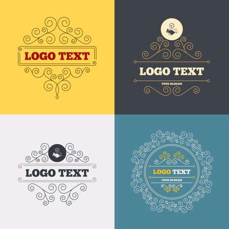 logo handshake: Vintage flourishes calligraphic. Tick handshake sign icon. Successful business with check mark symbol. Luxury ornament lines. Logo Vector
