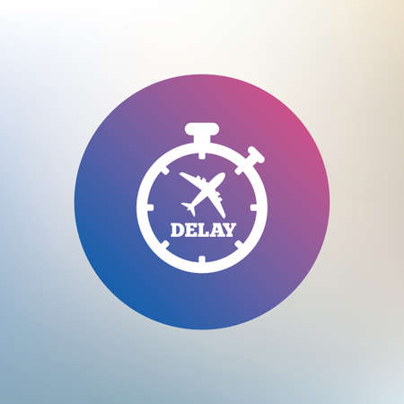 delayed: Delayed flight sign icon. Airport delay timer symbol. Airplane icon. Icon on blurred background. Vector