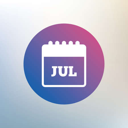 event planning: Calendar sign icon. July month symbol. Icon on blurred background. Vector Illustration