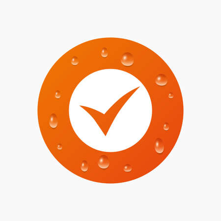 check sign: Water drops on button. Check sign icon. Yes symbol. Confirm. Realistic pure raindrops. Orange circle. Vector