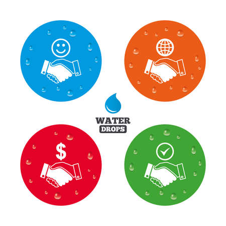 amicable: Water drops on button. Handshake icons. World, Smile happy face and house building symbol. Dollar cash money. Amicable agreement. Realistic pure raindrops on circles. Vector Illustration