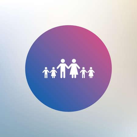 famiglia numerosa: Famiglia completa con il segno molti bambini icona. Grande simbolo di famiglia. Icona su sfondo sfocato. Vettore