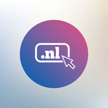 nl: Domain NL sign icon. Top-level internet domain symbol with cursor pointer. Icon on blurred background. Vector Illustration