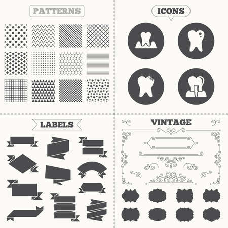 Seamless patterns. Sale tags labels. Dental care icons. Caries tooth sign. Tooth endosseous implant symbol. Parodontosis gingivitis sign. Vintage decoration. Vector Illustration