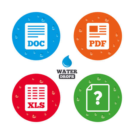 doc: Water drops on button. File document and question icons. XLS, PDF and DOC file symbols. Download or save doc signs. Realistic pure raindrops on circles. Vector