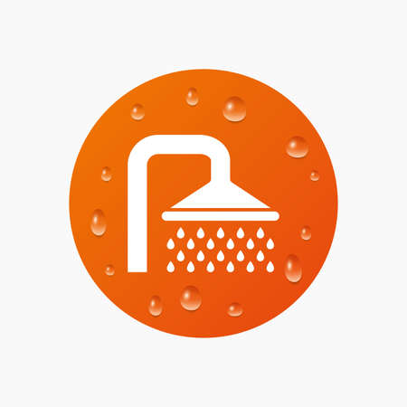 Water drops on button. Shower sign icon. Douche with water drops symbol. Realistic pure raindrops. Orange circle. Vector