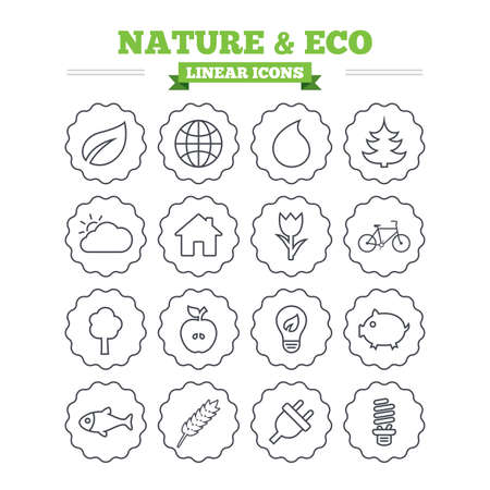 nature vector: Nature and Eco linear icons set. Trees, leaf and tulip or rose flower. Planet and water drop. Energy saving lamp, electric plug and house building. Thin outline signs. Flat vector