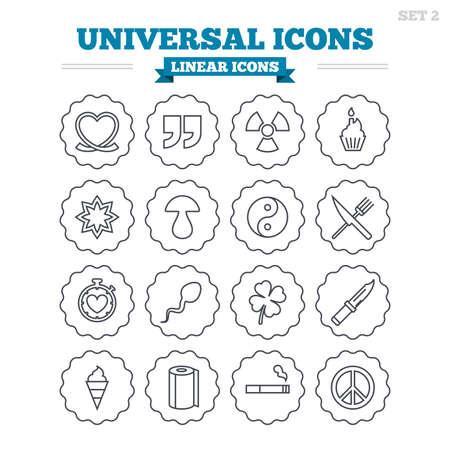 espermatozoides: Iconos lineales Conjunto universal. Cotizaciones, corazón y pastel de la cinta. Clover, setas y crema de hielo. Fumar, cuchillo y tenedor. Signos de esquema delgadas. Vector plana