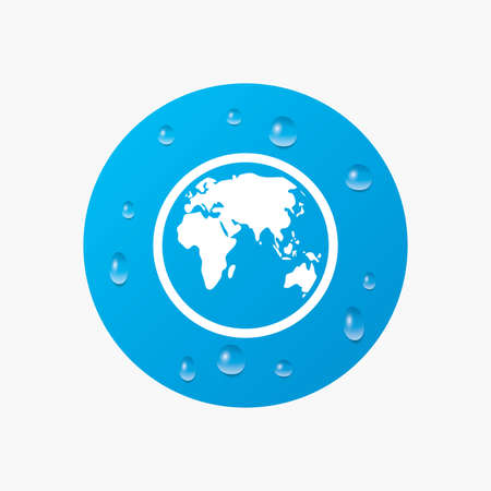 wide wet: Water drops on button. Globe sign icon. World map geography symbol. Realistic pure raindrops. Blue circle. Vector