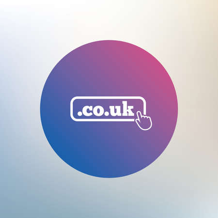 subdomain: Domain CO.UK sign icon. UK internet subdomain symbol with hand pointer. Icon on blurred background. Vector Illustration
