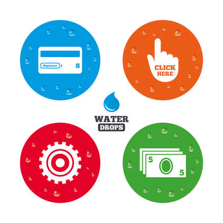 bank withdrawal: Water drops on button. ATM cash machine withdrawal icons. Insert bank card, click here and check PIN, processing and get cash symbols. Realistic pure raindrops on circles. Vector