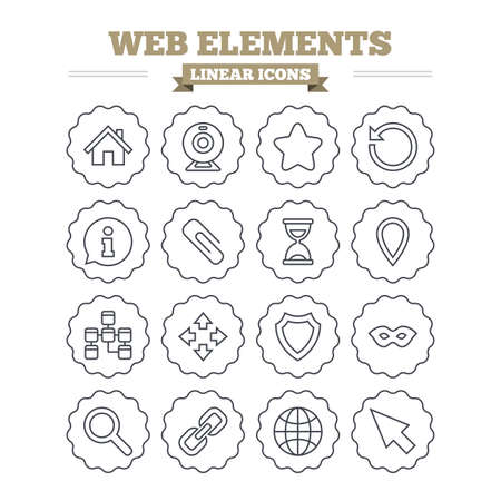 anonymous: Web elements linear icons set. Paperclip, video camera and information speech bubble. Database, anonymous mask and secure shield. Thin outline signs. Flat vector