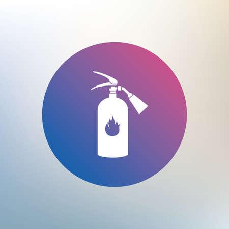 fire extinguisher sign: Extintor signo icono. S�mbolo de seguridad contra incendios. Icono en el fondo borroso. Vector