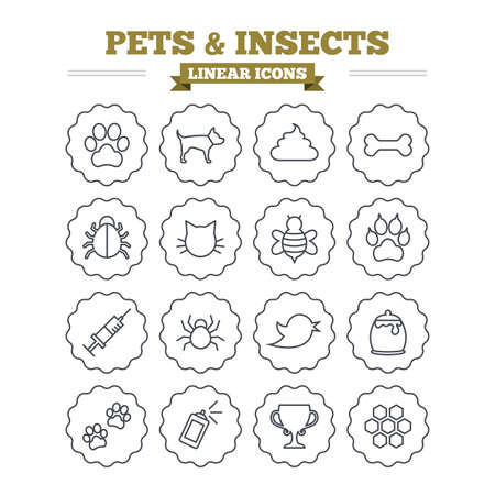 feces: Pets and Insects linear icons set. Dog paw. Cat paw with clutches. Bone, feces excrement and vaccination. Honey, bee and honey comb. Thin outline signs. Flat vector