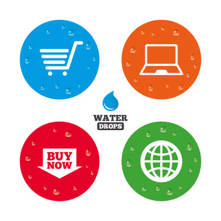 Water drops on button. Online shopping icons. Notebook pc, shopping cart, buy now arrow and internet signs. WWW globe symbol. Realistic pure raindrops on circles. Vector