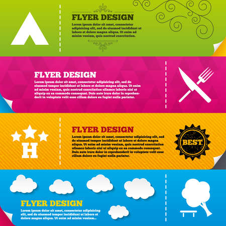 break down: Flyer brochure designs. Food, hotel, camping tent and tree icons. Knife and fork. Break down tree. Road signs. Frame design templates. Vector Illustration