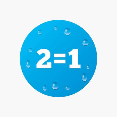 equals: Wassertropfen auf der Taste. Zwei f�r einen Zeichen-Symbol. Nehmen Sie zwei Lohn f�r einen Verkauf-Taste. 2 gleich 1. Realistische reine Regentropfen. Blauen Kreis. Vektor