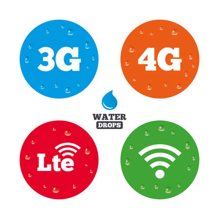 longterm: Water drops on button. Mobile telecommunications icons. 3G, 4G and LTE technology symbols. Wi-fi Wireless and Long-Term evolution signs. Realistic pure raindrops on circles. Vector