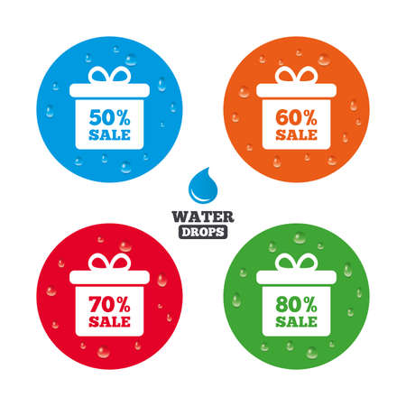 50 to 60: Water drops on button. Sale gift box tag icons. Discount special offer symbols. 50%, 60%, 70% and 80% percent sale signs. Realistic pure raindrops on circles. Vector Illustration
