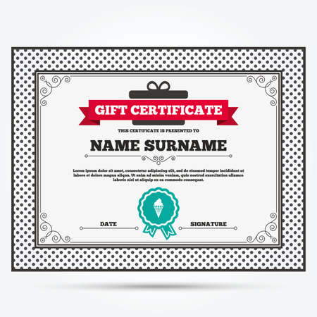 waffle cone: Gift certificate. Ice Cream in waffle cone sign icon. Sweet symbol. Template with vintage patterns. Vector