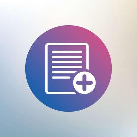 Fichier texte signe icône. Ajouter le document fichier symbole. Icône sur fond flou. Vecteur Banque d'images - 42813123
