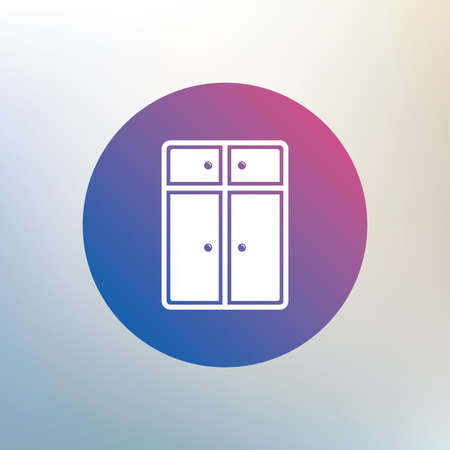 modern furniture: Cupboard sign icon. Modern furniture symbol. Icon on blurred background. Vector Illustration