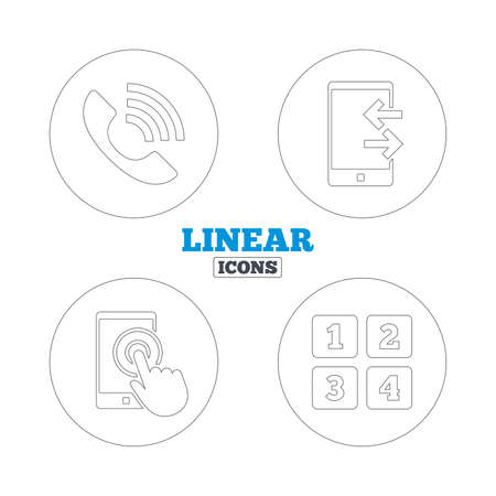 outcoming: Phone icons. Touch screen smartphone sign. Call center support symbol. Cellphone keyboard symbol. Incoming and outcoming calls. Linear outline web icons. Vector Illustration