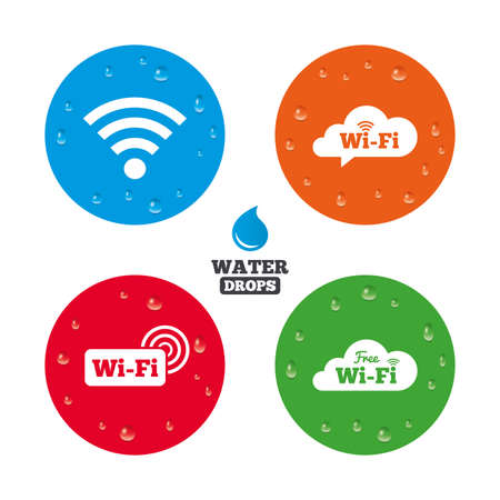 with liquids: Water drops on button. Free Wireless Network cloud speech bubble icons. Wireless zone sign symbols. Realistic pure raindrops on circles. Vector Illustration