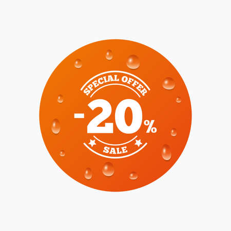 offer icon: Water drops on button. 20 percent discount sign icon. Sale symbol. Special offer label. Realistic pure raindrops. Orange circle. Vector Illustration