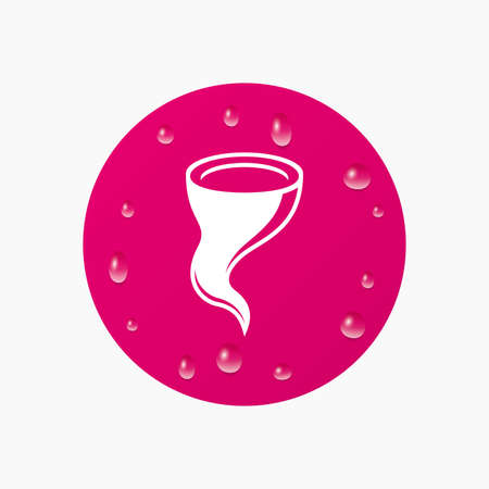 hurricane disaster: Water drops on button. Storm sign icon. Gale hurricane symbol. Destruction and disaster from wind. Insurance symbol. Realistic pure raindrops. Pink circle. Vector Illustration