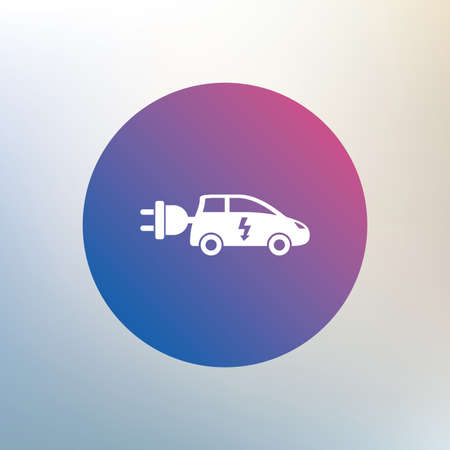icona trasporti: Electric car sign icon. Hatchback symbol. Electric vehicle transport. Icon on blurred background. Vector