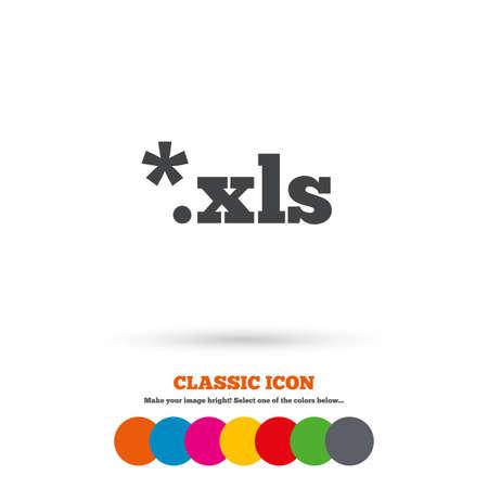 sobresalir: Icono de documento de archivo de Excel. Descargar bot�n xls. Archivo XLS s�mbolo extensi�n. Icono plana Classic. C�rculos coloreados. Vector Vectores