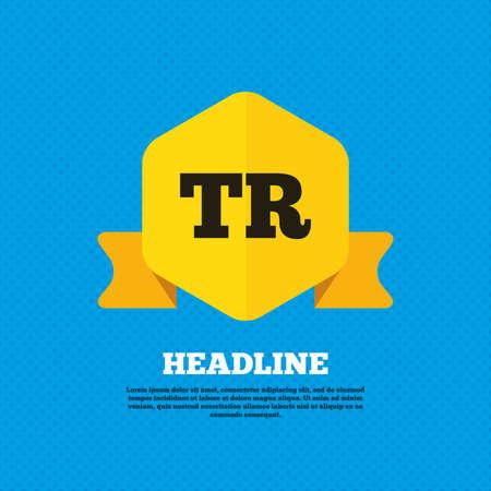 tr: Turkish language sign icon. TR Turkey translation symbol. Yellow label tag. Circles seamless pattern on back. Vector Illustration
