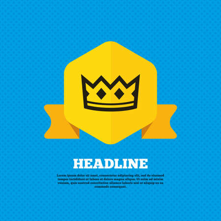 yellow crown: Crown sign icon. King hat symbol. Yellow label tag. Circles seamless pattern on back. Vector Illustration