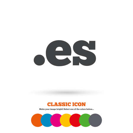 domain: Domain ES sign icon. Top-level internet domain symbol. Classic flat icon. Colored circles. Vector