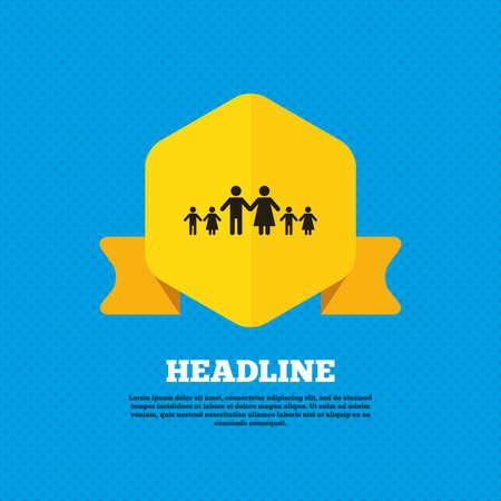 famiglia numerosa: Famiglia completa con il segno molti bambini icona. Grande simbolo di famiglia. Tag etichetta gialla. Circoli senza soluzione di modello sul retro. Vettore