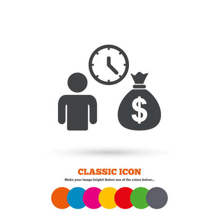 fast money: Bank loans sign icon. Get money fast symbol. Borrow money. Classic flat icon. Colored circles. Vector