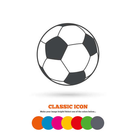 Football ball sign icon. Soccer Sport symbol. Classic flat icon. Colored circles. Vector Vetores
