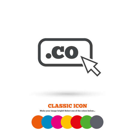 co: Domain CO sign icon. Top-level internet domain symbol with cursor pointer. Classic flat icon. Colored circles. Vector Illustration