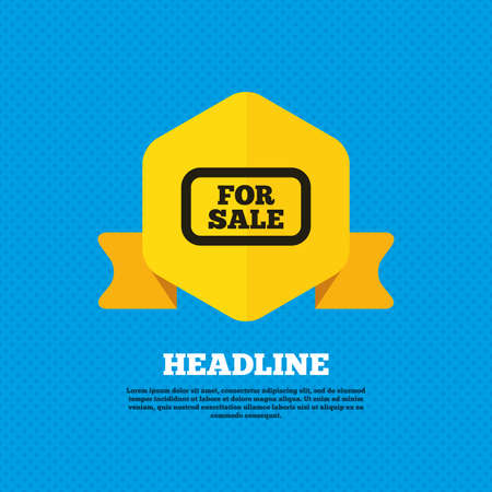 selling: For sale sign icon. Real estate selling. Yellow label tag. Circles seamless pattern on back. Vector