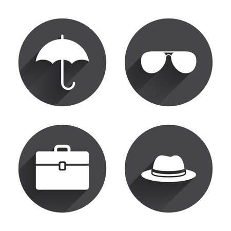 business case: Clothing accessories icons. Umbrella and sunglasses signs. Headdress hat with business case symbols. Circles buttons with long flat shadow. Vector