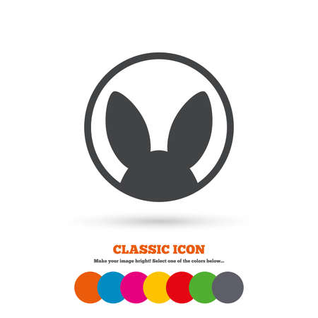 test: No animals testing sign icon. Not tested symbol. Classic flat icon. Colored circles. Vector
