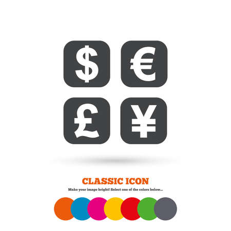 converter: Currency exchange sign icon. Currency converter symbol. Money label. Classic flat icon. Colored circles. Vector