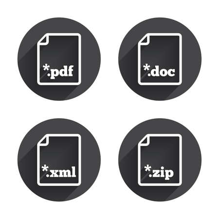 xml: Download document icons. File extensions symbols. PDF, ZIP zipped, XML and DOC signs. Circles buttons with long flat shadow. Vector