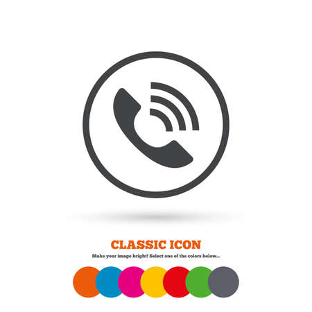 token: Phone sign icon. Call support center symbol. Communication technology. Classic flat icon. Colored circles. Vector