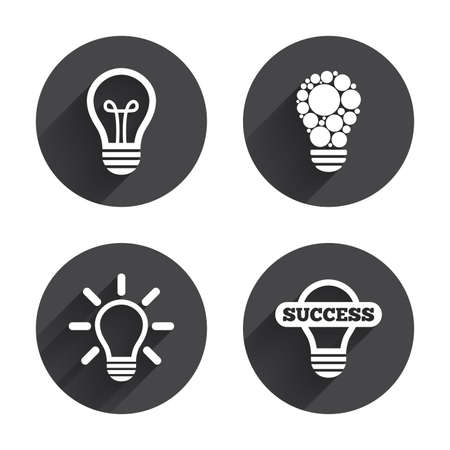 power button: Light lamp icons. Circles lamp bulb symbols. Energy saving. Idea and success sign. Circles buttons with long flat shadow. Vector Illustration