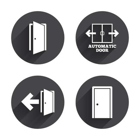 fire exit: Automatic door icon. Emergency exit with arrow symbols. Fire exit signs. Circles buttons with long flat shadow. Vector